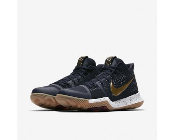 Kyrie 3 Basketball Mens Shoes Obsidian/Summit White/Metallic Gold Style: 852395-400