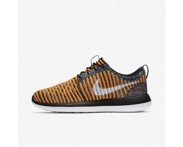 Nike Roshe Two Flyknit Womens Shoes Black/Bright Mango/Gold Lead/White Style: 844929-005
