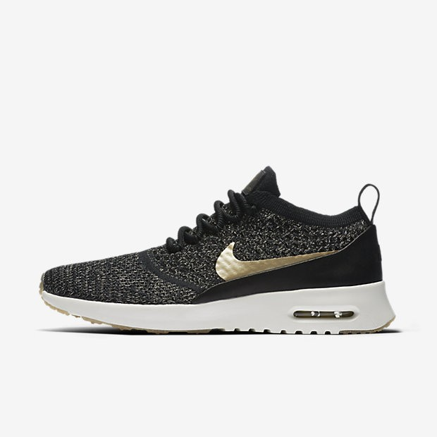 the latest 7b957 3a504 Nike Air Max Thea Ultra Flyknit Metallic Womens Shoes Black Ivory Metallic  Gold Star Style  881564-001