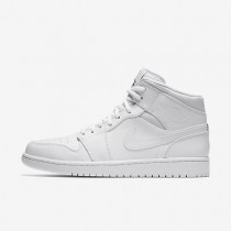 Air Jordan 1 Mid Mens Shoes White/White/Black Style: 554724-110