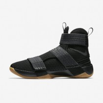 Nike LeBron Soldier 10 FlyEase Mens Shoes Black/Gum Medium Brown/Metallic Dark Grey/Metallic Dark Grey Style: 917338-009