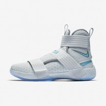 Nike LeBron Soldier 10 FlyEase Mens Shoes Pure Platinum/Cool Grey/White/Vivid Sky Style: 917338-040