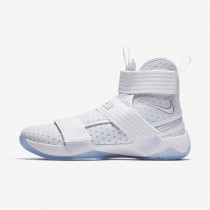 Nike LeBron Soldier 10 FlyEase Mens Shoes White/Metallic Silver/Ice Blue/White Style: 917338-110