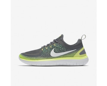 Nike Free RN Distance 2 Mens Shoes Stealth/Dark Grey/Electro Green/Off-White Style: 863775-008