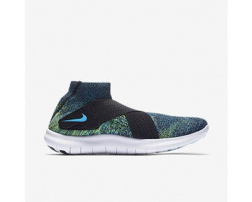 Nike Free RN Motion Flyknit 2017 Mens Shoes Black/Volt/White/Chlorine Blue Style: 880845-004