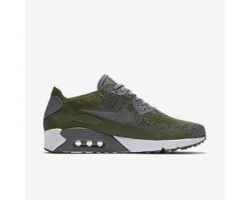 Nike Air Max 90 Ultra 2.0 Flyknit Mens Shoes Rough Green/White/Black/Dark Grey Style: 875943-300