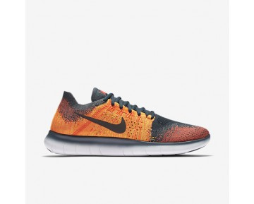 Nike Free Rn Flyknit 2017 Running Mens Shoes Blue Fox/Total Crimson/Total Orange/White Style: 880843-401