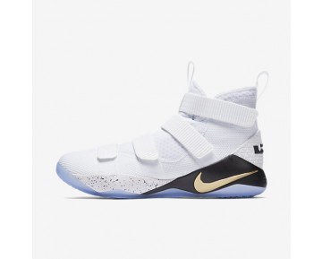 Lebron Soldier Xi Skateboarding Mens Shoes White/Black/Metallic Gold Style: 897644-101
