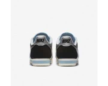 Nike Classic Cortez Leather Premium Womens Shoes Metallic Silver/Black/Mica Blue/Metallic Silver Style: 833657-004