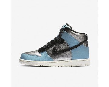 Nike Dunk High LX Womens Shoes Metallic Silver/Mica Blue/Ivory/Black Style: 881233-002