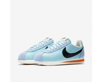 Nike Classic Cortez Nylon Premium Womens Shoes Still Blue/Sail/Safety Orange/Black Style: 882258-402